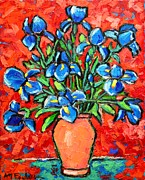 Impasto Oil Paintings - Iris Bouquet by Ana Maria Edulescu