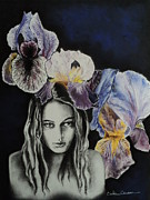 Charcoal Pastels Framed Prints - Iris Framed Print by Carla Carson