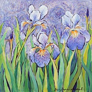 Periwinkle Pastels Posters - Iris Expression Poster by Shirley Skifstad