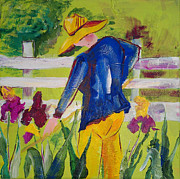 Suzanne Willis Metal Prints - Iris Garden Farmer Metal Print by Suzanne Willis