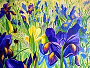 Fronds Paintings - Iris Spring by Julie Brugh Riffey