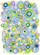 Patterned Drawings Metal Prints - Iris Waves Metal Print by Regina Valluzzi