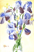 """indoor"" Still Life  Painting Posters - Irises Aglow Poster by Kip DeVore"
