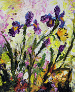 Bees Paintings - Irises Butterflies and Bees Garden Provencale by Ginette Callaway