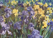 K Joann Russell - Irises Flowers Field Original Painting