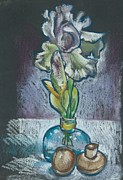 Mushroom Pastels - Irises in a Blue Glass Vase by Renee Lucie Benoit