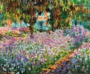 Claude Mixed Media - Irises In Monets Garden Enhanced by Claude Monet - L Brown