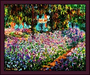 Claude Mixed Media - Irises In Monets Garden Triple Border by Claude Monet - L Brown