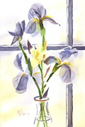 Blue Flowers Originals - Irises in the Window II by Kip DeVore
