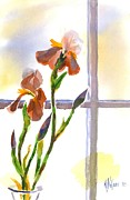 Flower Design Painting Framed Prints - Irises in the Window Framed Print by Kip DeVore