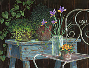 Vines Painting Posters - Irises Poster by Michael Humphries
