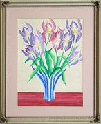 Original  By Artist Paintings - Irises by Ron Davidson