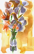 """indoor"" Still Life  Painting Posters - Irises with Stars of Bethlehem Poster by Kip DeVore"