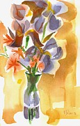 Bethlehem Painting Prints - Irises with Wild Stars of Bethlehem Print by Kip DeVore