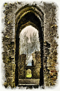 Ruins Pyrography - Irish Abbey ruins by Ibolya Szebeni