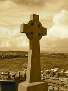 Inishmore Prints - Irish Celtic Cross 2 Print by Denise Mazzocco