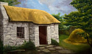 House With Garden Framed Prints - Irish cottage Framed Print by George Dadiani