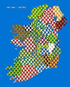 Ireland Map Digital Art - Irish County GAA Flags by Corina Hogan