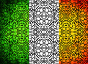 Wall Art Prints Digital Art - Irish Flag - Ireland Stone Rockd Art By Sharon Cummings by Sharon Cummings