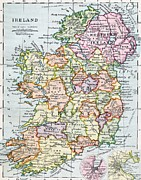 Charts Drawings Prints - Irish Free State and Northern Ireland from Bacon s Excelsior Atlas of the World Print by English School