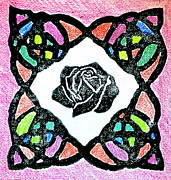 Linocut Prints - Irish Rose Print by Marita McVeigh