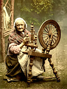 Old Lady Prints - Irish Spinning Wheel Print by Digital Reproductions