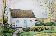 Roof Pastels Posters - Irish Thatched Roof Cottage with Bicycle Poster by Melinda Saminski