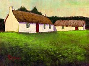 St. Patrick Paintings - Irish Thatched Roof Cottages by Bernie Rosage Jr
