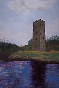 Medieval Pastels Prints - Irish Tower Print by Ginny Neece