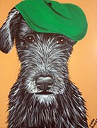 Man Cave Painting Framed Prints - Irish Wolfhound Golfer Framed Print by Linda Clavette Quigley