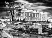 Storm Clouds Mixed Media Prints - Iron County Courthouse III - BW Print by Kip DeVore