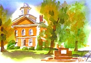 Autumn Colours Paintings - Iron County Courthouse in Watercolor by Kip DeVore