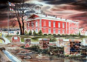 Red Tapestries Textiles Originals - Iron County Courthouse No W102 by Kip DeVore