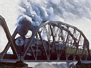 Coal Mixed Media Prints - Iron Horses And Iron Bridges Print by Dennis Buckman