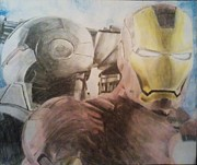 Blue And Gray Drawings - Iron Man and War Machine by Milton  Gore