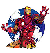 Avengers Drawings - Iron Man by Dave Olsen