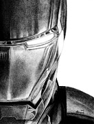 Comics Drawings Posters - Iron Man - Half of the Iron Poster by Kayleigh Semeniuk