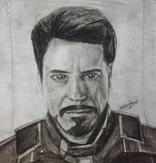 Iron Drawings Posters - Iron Man Poster by Meghna Suvarna