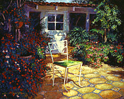 Tile Roof Posters - Iron Patio Chair Poster by  David Lloyd Glover