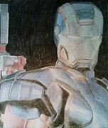 Blue And Gray Drawings - Iron Patriot by Milton  Gore