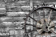 Wood Planks Metal Prints - Iron Tractor Wheel Metal Print by Scott Hansen