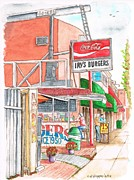 Cards Vintage Painting Prints - Irvs Burgers in West Hollywood - Califirnia Print by Carlos G Groppa
