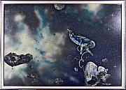 Cosmic Space Painting Framed Prints - Is Anybody out there Framed Print by Murphy Elliott