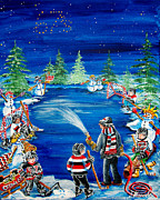 Pond Hockey Paintings - Is It Ready Yet Dad by Jill Alexander