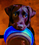 Black Lab Puppy Paintings - Is It Time Yet? by Michael Pickett