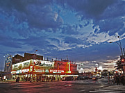 Shades Of Red Framed Prints - Is the Sun Setting on Coney Island? Framed Print by Andy Prendy