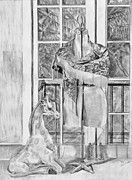 Life Drawings Posters - Is there a Giraffe in the House Poster by Susan Culver