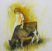Calf Mixed Media - Isabel by Almeta LENNON