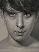 Photorealism Drawings - Isabell  by Dirk Dzimirsky