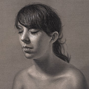 Photo-realism Drawings Originals - Isabell Variation III by Dirk Dzimirsky